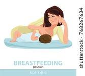 breastfeeding position. mother... | Shutterstock .eps vector #768267634