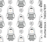 winter seamless pattern with... | Shutterstock .eps vector #768267859