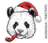 christmas card with cute panda... | Shutterstock .eps vector #768275491