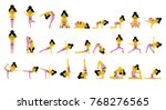 set with cute yoga woman in... | Shutterstock .eps vector #768276565