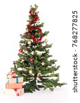 decorated christmas tree with... | Shutterstock . vector #768277825