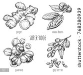 superfood hand drawn vector... | Shutterstock .eps vector #768280939