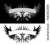 skull wings with banner tattoo... | Shutterstock .eps vector #768282304