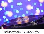 blurred turntable vinyl record... | Shutterstock . vector #768290299