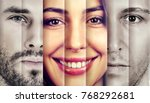 Small photo of Collage of a happy beautiful woman in-between two serious men
