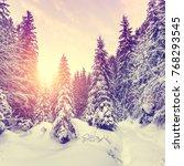 wonderful winter landscape.... | Shutterstock . vector #768293545