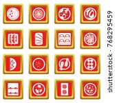 japan food icons set in red... | Shutterstock . vector #768295459