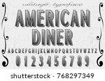 font alphabet handcrafted... | Shutterstock .eps vector #768297349