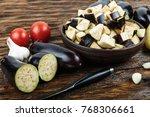 Raw Diced Eggplant In A Bowl ...