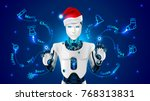 robot in a red hat of santa... | Shutterstock .eps vector #768313831