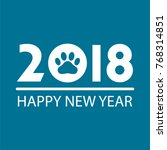 happy new year 2018 dog chines... | Shutterstock .eps vector #768314851