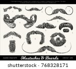 vector set with mustaches and... | Shutterstock .eps vector #768328171