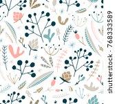 wildwood floral seamless... | Shutterstock .eps vector #768333589