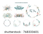 wreaths and bouquets floral... | Shutterstock .eps vector #768333601