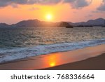 sunset  mountains  ocean waves... | Shutterstock . vector #768336664