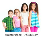laughing small kids on a white... | Shutterstock . vector #76833859