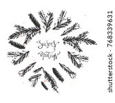 season's greetings hand drawn... | Shutterstock .eps vector #768339631