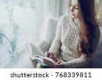 young beautiful girl wearing... | Shutterstock . vector #768339811