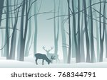 vector misty winter landscape... | Shutterstock .eps vector #768344791