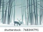 vector misty winter landscape... | Shutterstock .eps vector #768344791