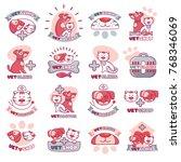 veterinary logo vector animals... | Shutterstock .eps vector #768346069