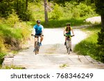 active young couple biking on a ...   Shutterstock . vector #768346249