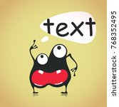 funny black monster with... | Shutterstock .eps vector #768352495