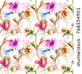 seamless pattern with original... | Shutterstock . vector #768354901