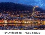 famous bryggen street with... | Shutterstock . vector #768355039