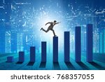 businessman running towards... | Shutterstock . vector #768357055