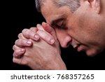 close up of faithful mature man ... | Shutterstock . vector #768357265
