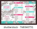 vector design of dessert menu... | Shutterstock .eps vector #768360751