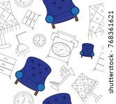 furniture icon seamless pattern  | Shutterstock .eps vector #768361621
