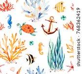 underwater multicolored... | Shutterstock . vector #768362419