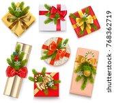 vector christmas gift boxes... | Shutterstock .eps vector #768362719