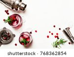 red cranberry cocktail with ice ... | Shutterstock . vector #768362854