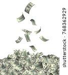 flying banknotes of hundred...   Shutterstock . vector #768362929