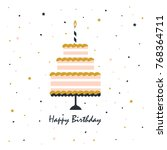 card with birthday cake and... | Shutterstock .eps vector #768364711