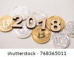bitcoin digital money currency... | Shutterstock . vector #768365011