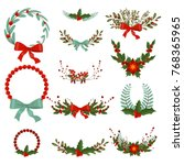 hand drawn christmas wreath.... | Shutterstock .eps vector #768365965