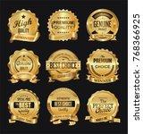 retro golden badge vector... | Shutterstock .eps vector #768366925