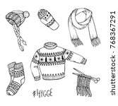 vector hand drawn set of... | Shutterstock .eps vector #768367291