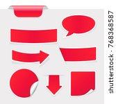 red stickers on gray background....   Shutterstock . vector #768368587