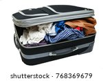 open suitcase with things... | Shutterstock . vector #768369679