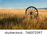 Antique Wooden Wagon Wheel Wit...