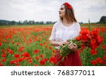 young smiling girl with long... | Shutterstock . vector #768377011