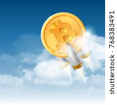 bitcoin grows. digital currency.... | Shutterstock .eps vector #768383491