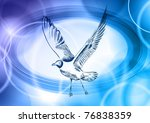 seagull on the blue background | Shutterstock .eps vector #76838359