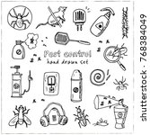 hand drawn doodle pest control... | Shutterstock .eps vector #768384049
