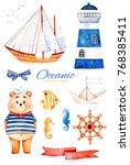 nautical watercolor set. ocean... | Shutterstock . vector #768385411